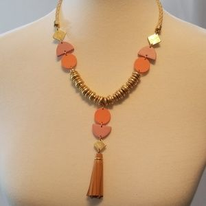 Lucky Brand Orange and Pink Tassel Necklace